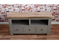 Rustic Hardwood TV Unit Stand with Three Drawers - Free delivery