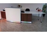 Reception Desk. In excellent condition. Size 340 cm length x 80cm width and 76.5cm high.