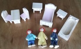 New Wooden Dolls House Furniture & Dolls