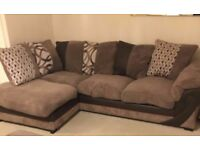 Left side corner sofa, cuddle chair and storage foot stool