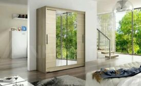 **14-DAY MONEY BACK GUARANTEE!** Hamburg Platinum Oak Sliding Door Wardrobe - SAME DAY DELIVERY!