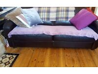 Dark Brown Leather Sofa Settee Couches