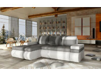 European modern sectional sleeper sofa & chaise set TORRES grey&green
