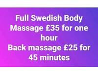 Swedish Body Massage and back massage
