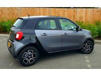 MERCEDES SMART FORFOUR PRIME 1.0 FSH GRAPHITE GREY AND BLACK LEATHER INTERIOR PANORAMIC ROOF