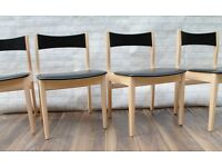Stylish Beech/Black Dining Chairs