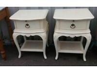 2 x Vintage French Louis Style Large Bedside Tables