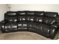 Dark Brown Leather Corner Sofa, good condition, both end seats have electric recliners