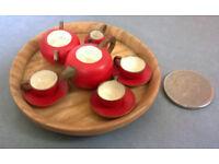 vintage micro wooden tea set