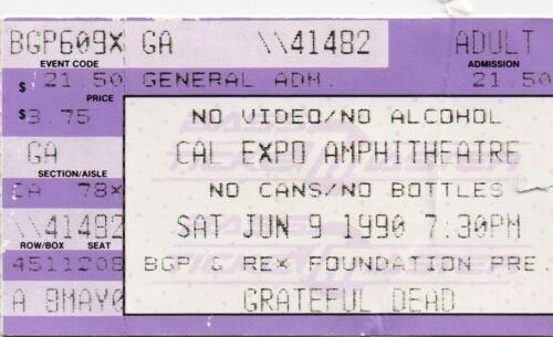 GRATEFUL DEAD TICKET STUB  06-09-1990   CAL EXPO AMPHITHEATRE