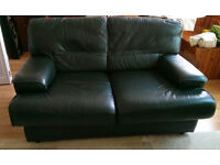GREEN LEATHER SOFA 5' In good condition