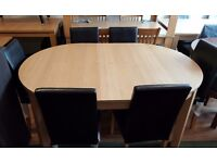 Extended dining table + 6 chairs