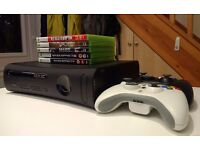 120GB Xbox 360 with 2 controllers and 6 games