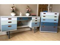 Unique Schreiber Hand Painted Dressing Table & Chest Of Drawers