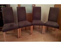 4 x UPHOLSTERED TALL BACKED DINING CHAIRS BY TETRAD - BEECH LEGS/CHOCOLATE BROWN FAUX SUEDE COVERS.