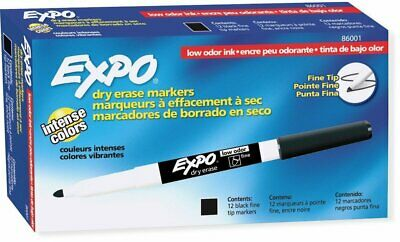 Expo 86001 Low Odor Dry Erase Marker Fine Point Black Pack Of 12