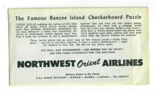 Vintage Sealed Northwest Orient Airlines Banzee Island Checkerboard Puzzle game