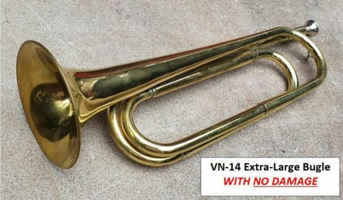 VN14  EXTRA-LARGE BRASS BUGLE HORN, Some DAMAGE to bell- ARMY MILITARY ANZAC