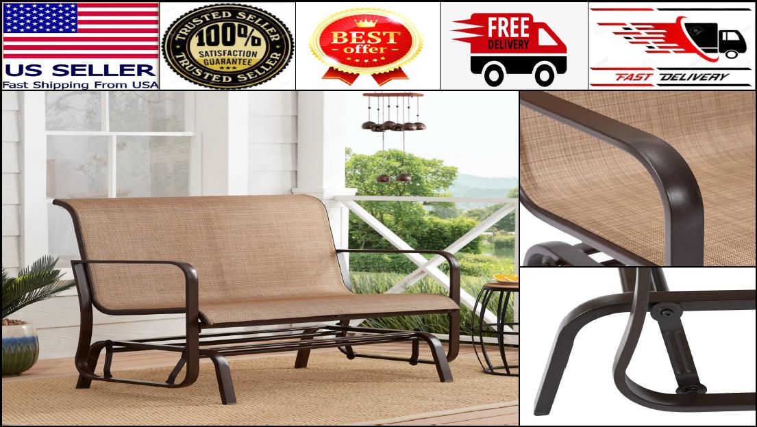 Garden Furniture - Patio Glider Bench Outdoor Chaise Chair Loveseat 2 Person Garden Furniture Metal