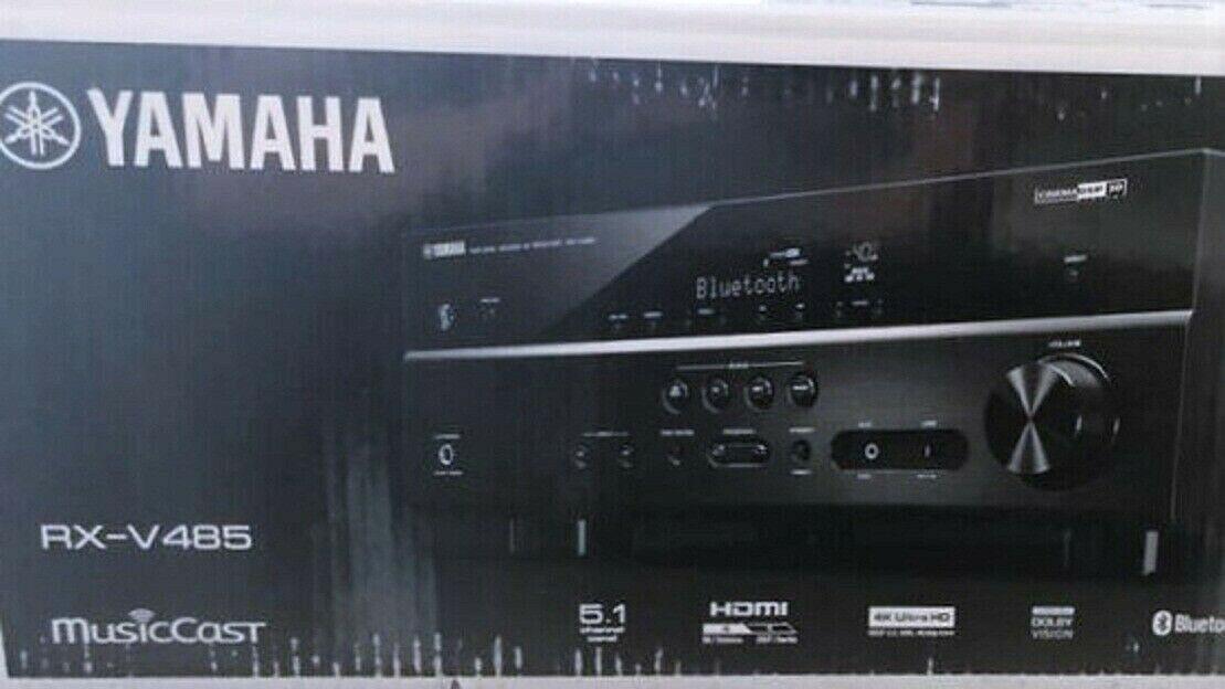 Yamaha RX-V485BL 5.1-Channel 4K Ultra HD AV Receiver with Mu