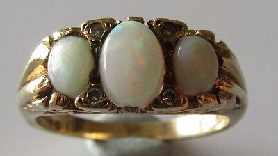 VINTAGE 9CT YELLOW GOLD 7 STONE OPAL DIAMOND RING SIZE N-O.