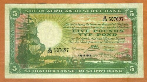 South Africa, 5 pounds, 1943 P-86b, F-VF > 76 years old