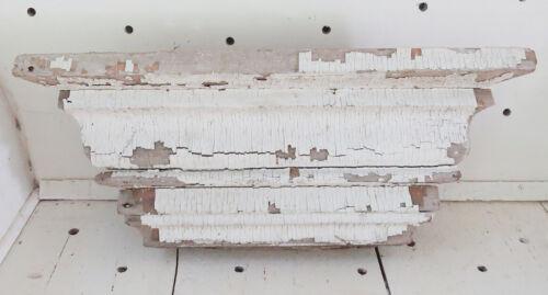Antique Chippy Shabby Architectural Salvage Pediment Cornice Shelf Mantle