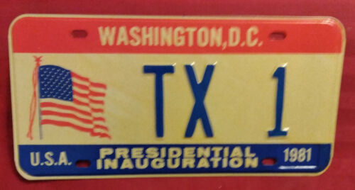 1981 DISTRICT OF COLUMBIA TX-1 TEXAS INAUGURAL LICENSE PLATE