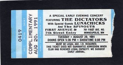 1991 The Dictators Lunachicks Concert Ticket Stub Minneapolis First Avenue