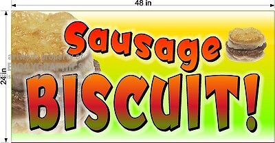 2' X 4' VINYL BANNER SAUSAGE BISCUIT  SANDWICH BREAKFAST NEW FULL COLOR GRAPHIC