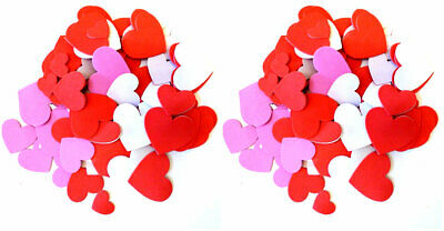 New 100 EVA Foam Heart Stickers Valentine's Crafts Assorted Sizes Colors ~ Qty -
