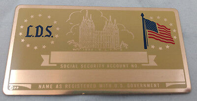 L.D.S. Mormon US Social Security Metal Card Tag NOS VTG Perma Products​