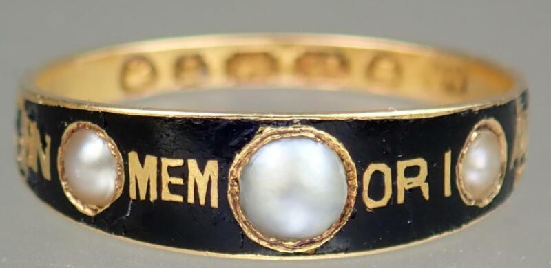 Antique Victorian 18K Gold Black Enamel Pearl IN MEMORIAM Mourning Ring Sz 6.75