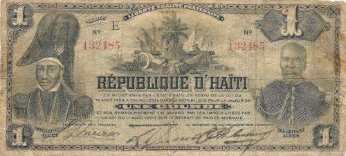 HAITI ~ 1 GOURDE 1903 CENTENNIAL ISSUE P-110 ~ RARE 1-YEAR TYPE SELDOM AVAILABLE
