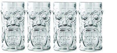 Set of 4 Anchor Hocking Glass Screaming Tiki Glasses