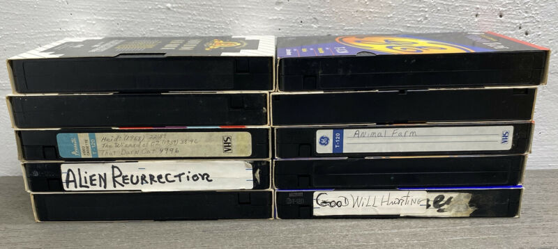 Lot of 10 VHS Tapes Used Sold as Blanks Polaroid GE TDK MGM