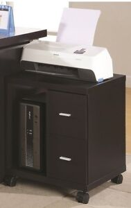 2 Drawer PC Tower Computer Stand on Castors Monarch Cappuccino