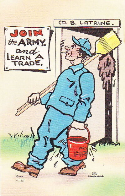 JOIN THE ARMY AND LEARN A TRADE - WW2 LATRINE POSTCARD