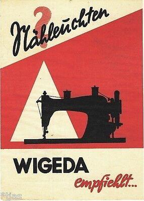 Wigeda empfiehlt Nähleuchten Prospekt für Lampen für Nähmaschinen um 1937