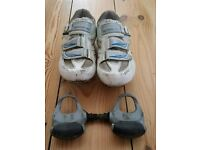 For sale is a pair of the ladies Shimano WR40 cycling shoes + Trek ladies helmet.