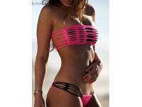 Rose Red Hollow Out Bikini Set, M