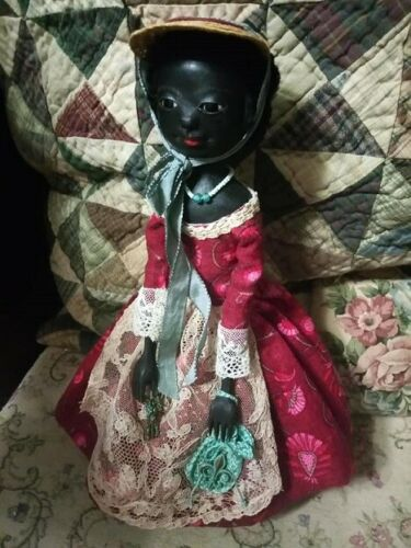 Queen Anne Style black wooden Doll 11 (28 cm ) tall by Marina Savchuk.