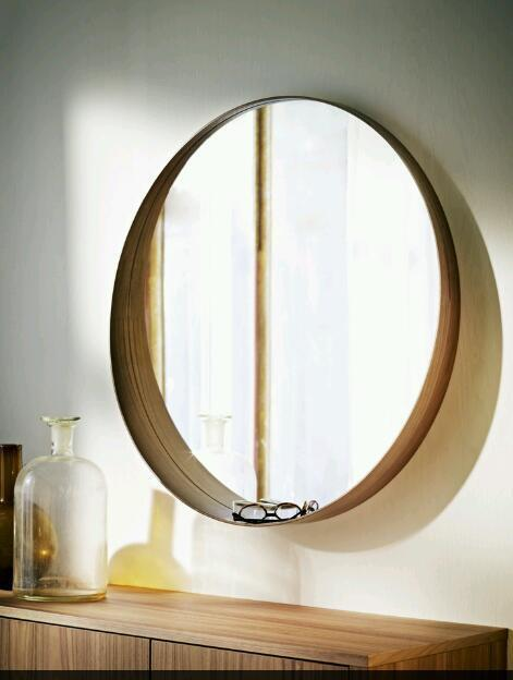 Ikea New Round Retro Vintage Style Wooden Scandi Mirror