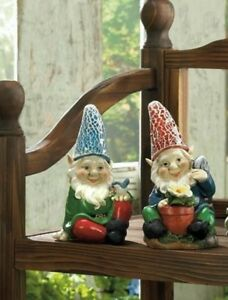 "7"" Solar Gnome Yard Ornament 2 Designs Red Blue Choice Brand New"