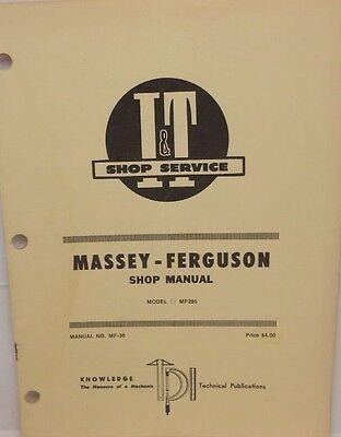 Massey-ferguson Shop Manual Model Mf285
