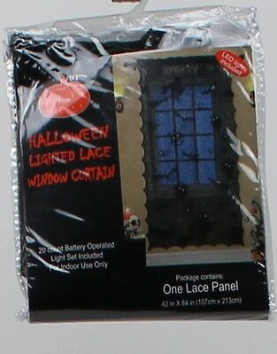 Halloween 42 in X 84 in Black Lighted Lace Window Curtain Battery Operated NWT