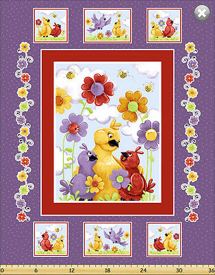 BIRD by SusyBee Cotton Quilt fabric Birds with Flowers Panel with blocks 36x44