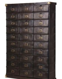 This stunning 30 draw black metal post cabinet for sale. £500. this Cabinet has never been used