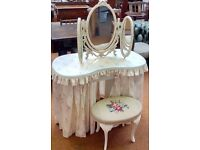 Original Vintage/Retro 1950/60's Kidney Dressing Table With Matching Mirror & Stool