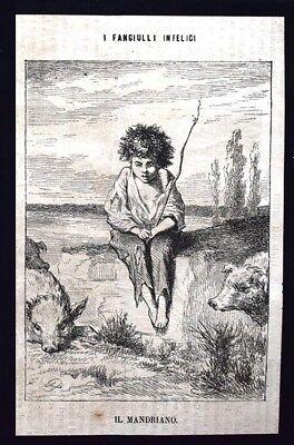 I fanciulli infelici - Il mandriano Incisione del 1869
